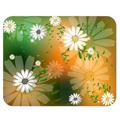 Beautiful Flowers With Leaves On Soft Background Double Sided Flano Blanket (Medium)