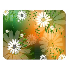 Beautiful Flowers With Leaves On Soft Background Double Sided Flano Blanket (large)