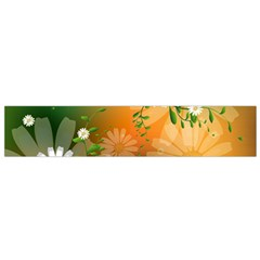 Beautiful Flowers With Leaves On Soft Background Flano Scarf (Small)