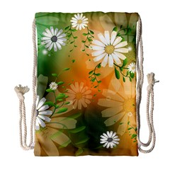 Beautiful Flowers With Leaves On Soft Background Drawstring Bag (Large)