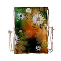 Beautiful Flowers With Leaves On Soft Background Drawstring Bag (Small)