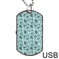 Vintage Paisley Aqua Dog Tag Usb Flash (two Sides)