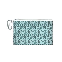 Vintage Paisley Aqua Canvas Cosmetic Bag (S)