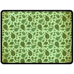 Vintage Paisley Green Fleece Blanket (large)