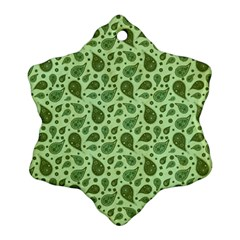 Vintage Paisley Green Snowflake Ornament (2-Side)