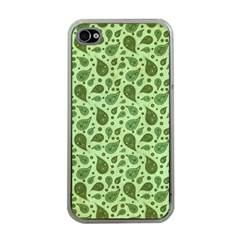 Vintage Paisley Green Apple iPhone 4 Case (Clear)