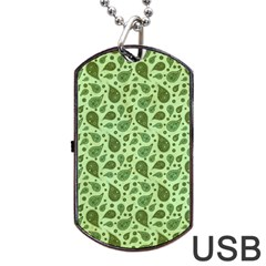 Vintage Paisley Green Dog Tag USB Flash (Two Sides)