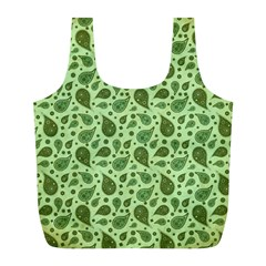 Vintage Paisley Green Full Print Recycle Bags (L)