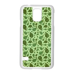 Vintage Paisley Green Samsung Galaxy S5 Case (White)