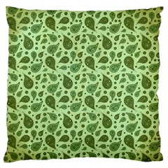 Vintage Paisley Green Large Flano Cushion Cases (Two Sides)