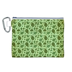Vintage Paisley Green Canvas Cosmetic Bag (L)