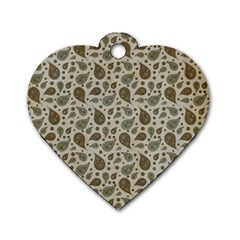 Vintage Paisley Grey Dog Tag Heart (Two Sides)