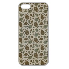Vintage Paisley Grey Apple Seamless iPhone 5 Case (Clear)