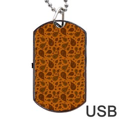 Vintage Paisley Terra Dog Tag USB Flash (One Side)