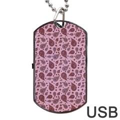 Vintage Paisley Pink Dog Tag USB Flash (Two Sides)