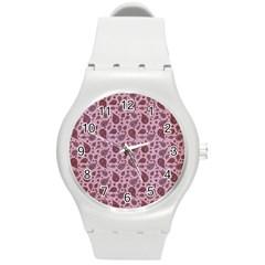Vintage Paisley Pink Round Plastic Sport Watch (M)