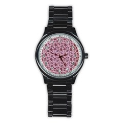 Vintage Paisley Pink Stainless Steel Round Watches