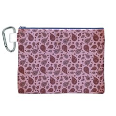 Vintage Paisley Pink Canvas Cosmetic Bag (XL)