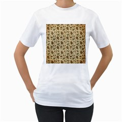 Vintage Paisley Women s T-Shirt (White) (Two Sided)