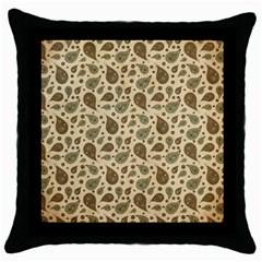 Vintage Paisley Throw Pillow Cases (Black)