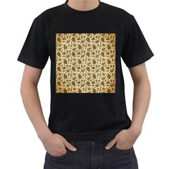 Vintage Paisley Men s T-Shirt (Black) (Two Sided)