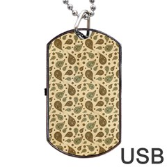 Vintage Paisley Dog Tag Usb Flash (two Sides)