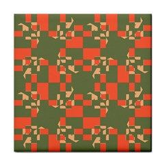 Green orange shapes Tile Coaster