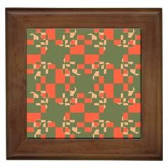 Green orange shapes Framed Tile