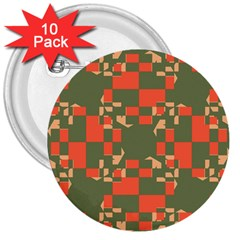 Green orange shapes 3  Button (10 pack)