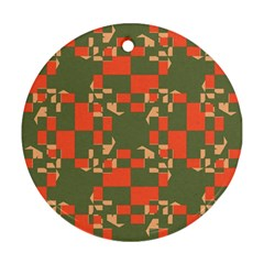 Green orange shapes Round Ornament (Two Sides)