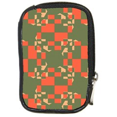 Green orange shapes Compact Camera Leather Case