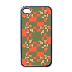 Green orange shapes Apple iPhone 4 Case (Black)