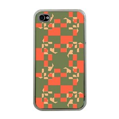 Green orange shapes Apple iPhone 4 Case (Clear)