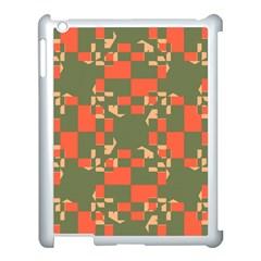 Green orange shapes Apple iPad 3/4 Case (White)