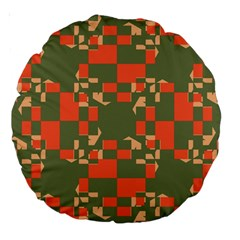Green orange shapes Large 18  Premium Round Cushion