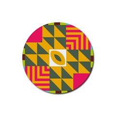 Shapes in a mirror Rubber Round Coaster (4 pack)