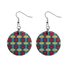 Blue red and yellow shapes pattern 1  Button Earrings