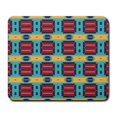Blue red and yellow shapes pattern Large Mousepad