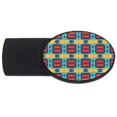 Blue Red And Yellow Shapes Pattern Usb Flash Drive Oval (4 Gb)