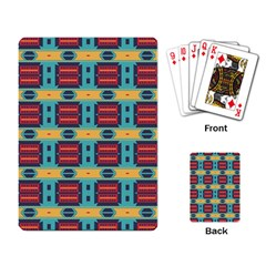Blue red and yellow shapes pattern Playing Cards Single Design