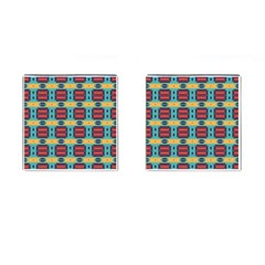 Blue red and yellow shapes pattern Cufflinks (Square)