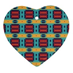 Blue red and yellow shapes pattern Heart Ornament (Two Sides)