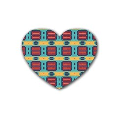 Blue Red And Yellow Shapes Pattern Rubber Coaster (heart)