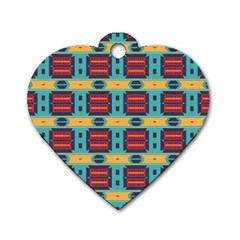 Blue red and yellow shapes pattern Dog Tag Heart (Two Sides)
