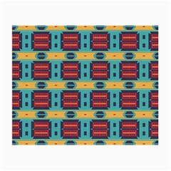 Blue red and yellow shapes pattern Small Glasses Cloth (2 Sides)