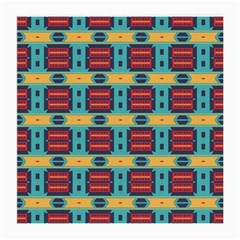 Blue red and yellow shapes pattern Medium Glasses Cloth
