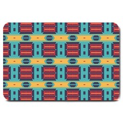Blue red and yellow shapes pattern Large Doormat