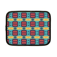 Blue red and yellow shapes pattern Netbook Case (Small)