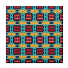 Blue red and yellow shapes pattern Face Towel