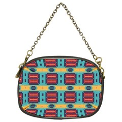 Blue red and yellow shapes pattern Chain Purse (Two Sides)